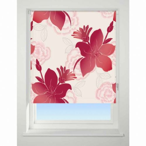 Universal Patterned Blackout Roller Blind - Lily Red